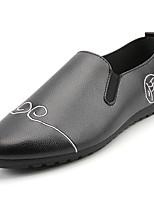 Для мужчин Туфли на шнуровке Мокасины Полиуретан Весна Лето Для прогулок На плоской подошве Белый Черный Оранжевый Серый Менее 2,5 см