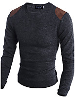 Для мужчин На каждый день Длинный Пуловер С животными принтами,Круглый вырез Длинный рукав Хлопок Осень Зима Средняя Слабоэластичная