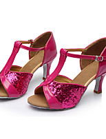 Customizable Women's Latin Paillette Sandals Indoor Sequin Customized Heel Fuchsia