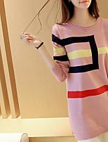 Для женщин Простое Обычный Пуловер Контрастных цветов,Круглый вырез Длинный рукав Другое Весна Осень Средняя Слабоэластичная