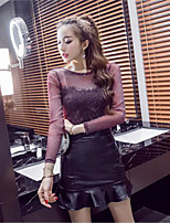 Women's Going out Casual/Daily Cute Street chic T-shirt Dress Suits,Solid Round Neck Long Sleeve