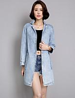Для женщин На каждый день лето Джинсовая куртка Рубашечный воротник,просто Однотонный Длиные Длинный рукав