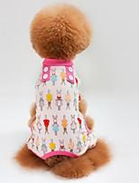 Katze Hund T-shirt Pullover Overall Pyjamas Hosen Hundekleidung Lässig/Alltäglich Hase/Kaninchen Grün Blau Rosa