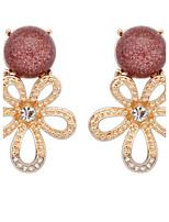 Euramerican Fashion Elegant Rhinestone  Flower Small Round Earrings Lady Party Stud Earrings Movie Jewelry