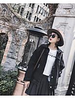 Women's Casual/Daily Simple Cute Spring Denim Jacket,Letter Shirt Collar Long Sleeve Regular Polyester