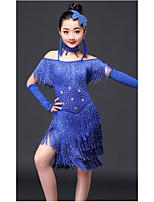 Latin Dance Outfits Kid's Performance Milk Fiber Crystals/Rhinestones Tassel(s) 4 Pieces Short Sleeve High Dresses Neckwear Bracelets