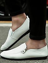 Men's Loafers & Slip-Ons Comfort PU Spring Casual White Black Orange Flat