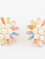 Korean Style Elegant Pearl  Flower Boutique Stud Earrings Women's Daily Initial Jewelry