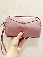 Women Clutch Cowhide All Seasons Casual Baguette Zipper Fuchsia Purple Gray Pale Pink Red
