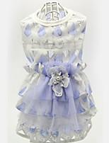 Chien Robe Vêtements pour Chien Décontracté / Quotidien Mariage Floral/Botanique Violet Jaune
