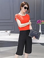 Women's Casual/Daily Simple T-shirt Pant Suits,Solid Round Neck
