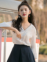 Women's Going out Vintage Blouse,Solid V Neck Long Sleeve Others
