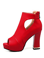 Women's Heels Club Shoes PU Summer Outdoor Dress Casual Chunky Heel Red Black White 4in-4 3/4in