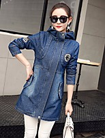 Women's Casual/Daily Simple Spring Denim Jacket,Solid Hooded Long Sleeve Long Cotton