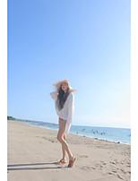 Women's Daily Regular Cardigan,Solid Round Neck Long Sleeve Silk Summer Medium Micro-elastic