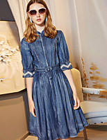 BLUEOXY Women's Party Going out Casual/Daily Loose DressSolid Round Neck Knee-length Half Sleeve Cotton 100%Cotton Summer Fall Mid Rise Inelastic