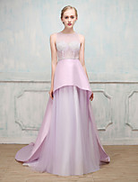 Formal Evening Dress - Open Back Sexy Lace-up Ball Gown Jewel Sweep / Brush Train Stick-Satin Tulle with