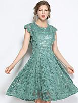 SUOQI Women Summer Dress Green Round Neck Sleeveless Lace Slim Knee-length Dresses