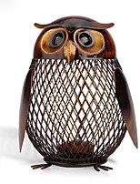 Owl Shaped Figurine Piggy Bank Money Box Metal Figurine Coin Box Saving Box Home Decor Decoration Crafts Gift For Kids