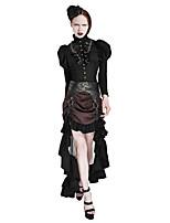 PUNKRAVE Q-302 Women's Vintage Street chic Punk Gothic Trumpet Mermaid Stripe Tulle Ruffle Fashion Striped Steampunk Skirts