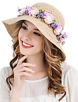 Для женщин Очаровательный Для вечеринки Для офиса На каждый день Панама Соломенная шляпа,Весна/осень Лето Солома Однотонный Чистый цвет