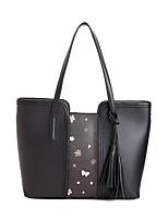 Women's Shoulder Bag PU All Seasons Office & Career Baguette Tassel Zipper Beige Blushing Pink Black
