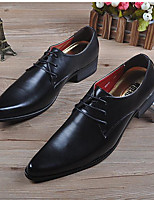 Men's Sneakers Comfort Leather Spring Business Casual Black Flat
