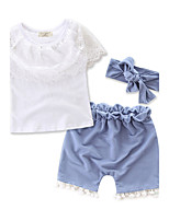 Girls' Fashion Lace Sets Cotton Summer Short Pant Clothing Set Kids Baby Clothes Suit