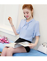 Women's Casual/Daily Simple Cute T-shirt Skirt Suits,Solid U Neck Half Sleeve Micro-elastic
