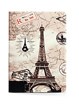For Apple iPad (2017) iPad Air 2 iPad Air with Stand Flip Pattern Full Body Case Eiffel Tower Hard PU Leather