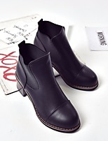Women's Heels Comfort PU Leather Spring Casual Black 2in-2 3/4in