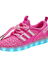 Girls' Sneakers Light Up Shoes Tulle Spring Fall Casual Outdoor Flat Heel Black/Red Blushing Pink Green Black Walking Shoes