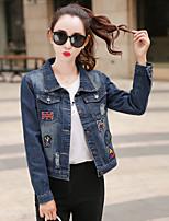Women's Casual/Daily Simple Spring Denim Jacket,Print Shirt Collar Long Sleeve Regular Others