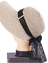 Для женщин Винтаж Очаровательный Для вечеринки Для офиса На каждый день Соломенная шляпа Шляпа от солнца Пэчворк