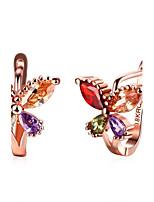 Mulheres Brincos Compridos Brincos em Argola Cristal Gema Zircônia cúbicaBásico Circular Original Tatuagem Pingente Natureza Geométrico