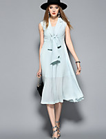 ANGEL Women's Going out Casual/Daily Cute A Line DressSolid V Neck Midi Sleeveless Silk Polyester Spring Summer Mid Rise Inelastic Thin