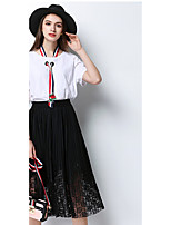 MEIDONGTAI Women's Casual/Daily Midi Skirts Relaxed Solid Summer