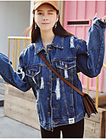 Women's Casual/Daily Simple Spring Denim Jacket,Solid Shirt Collar Long Sleeve Regular Linen