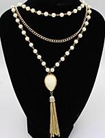 Жен. Девочки Ожерелья с подвесками Пряди Ожерелья Слоистые ожерелья Искусственный жемчуг Искусственный жемчугБазовый дизайн Уникальный
