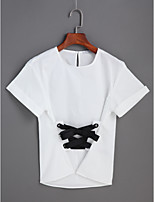 Women's Daily Cute T-shirt,Solid Round Neck Short Sleeve Cotton