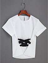 T-shirt Da donna Quotidiano RomanticoTinta unita Rotonda Cotone Manica corta