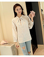 Women's Casual/Daily Simple Summer Shirt,Striped Asymmetrical Long Sleeve Polyester