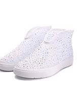 Для женщин Кеды Удобная обувь Тюль Демисезонный Лето Повседневные Для прогулок Удобная обувь Лак Молнии На плоской подошвеЗолотой