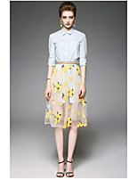 OYCP Women's Daily Contemporary Summer Shirt Skirt SuitsSolid Flower/Floral Round Neck  Length Sleeve
