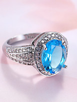 Ring Sapphire  Classic Elegant Gemstone Cubic Zirconia Round Jewelry For Wedding Party