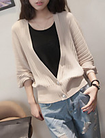 Women's Daily Regular Cardigan,Solid Round Neck Long Sleeve Real Leather Summer (0.4 inch) 10 Medium Micro-elastic