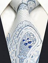 CXL7 Extra Long Unique Classic Mens Ties White Paisley 100% Silk Business Casual Fashion