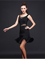 Latin Dance Dresses Women's Training Milk Fiber 1 Piece Sleeveless High Dress