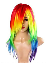 Women's Cosplay Wig My Little Pony Rainbow  Multi Color Heat Resistant Synthetic Hair Party Wig Free Shipping