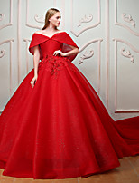 Formal Evening Dress - Beautiful Back Floral Vintage Inspired Elegant Princess Off-the-shoulder Chapel Train Lace Tulle